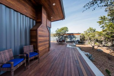 Austin Custom home build with shipping containers deck