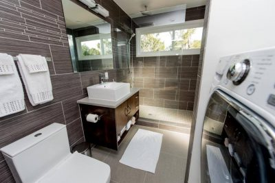 Austin custom home builders shipping container bathroom