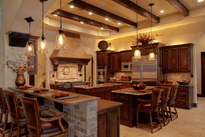Austin Texas Custom Home Builders kitchen with wood beams