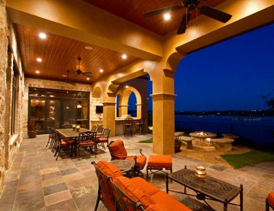 Austin Texas Custom Home Builders outdoor living patio and dining