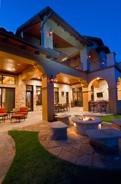 Austin Texas Custom Home Builders outdoor living with fire pit
