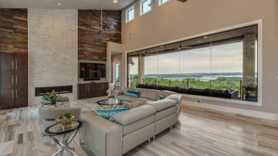 Living space with views everywhere you turn Austin custom home builders
