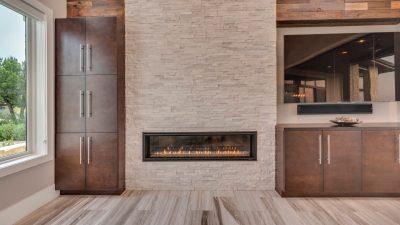 Built in fireplace Austin custom home builders