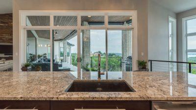 Austin custom home builder kitchen sink with granite counter