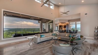 Light and open living space Austin custom home builders